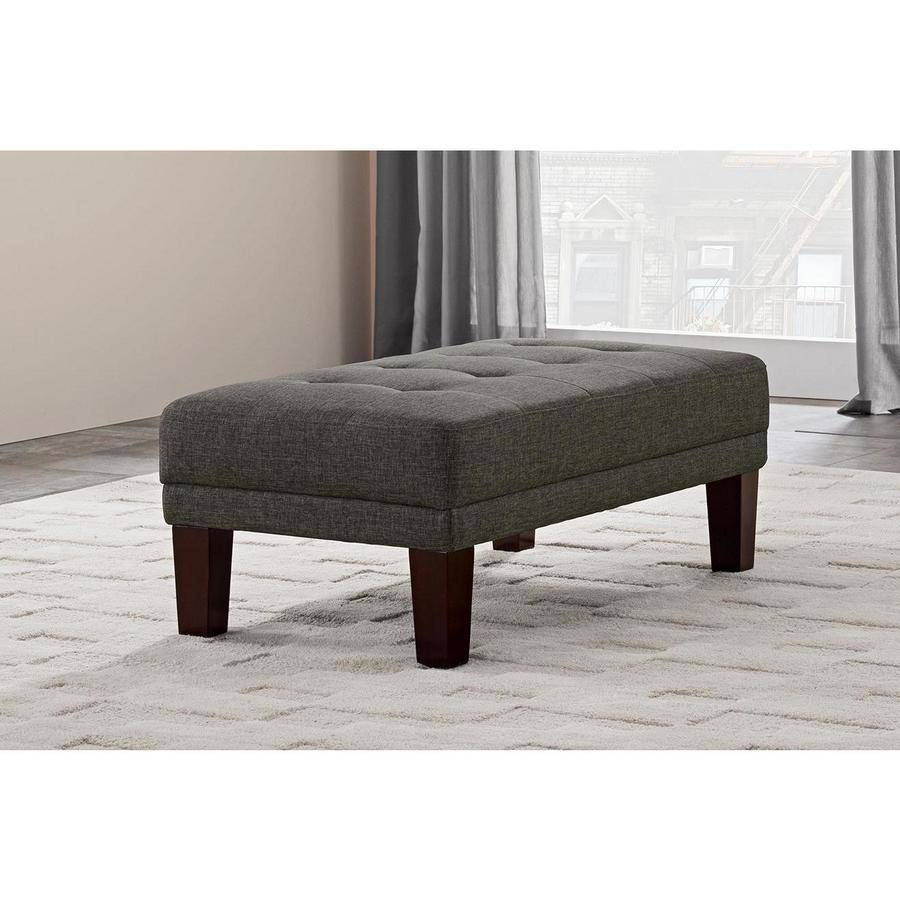 Better Homes and Gardens Porter Rectangular Ottoman, Gray Linen