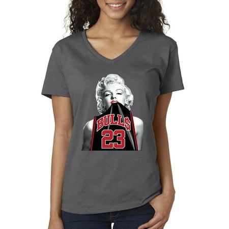 V Trendy Bulls Xs Michael Usa 23 Jordan Women's Shirt Jersey Monroe 420 Charcoal Neck T Marilyn BodeCx