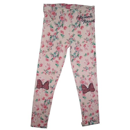 Disney Minnie Mouse Floral Leggings with Glitter Bow Applique Girls Tweens Legging (Large)