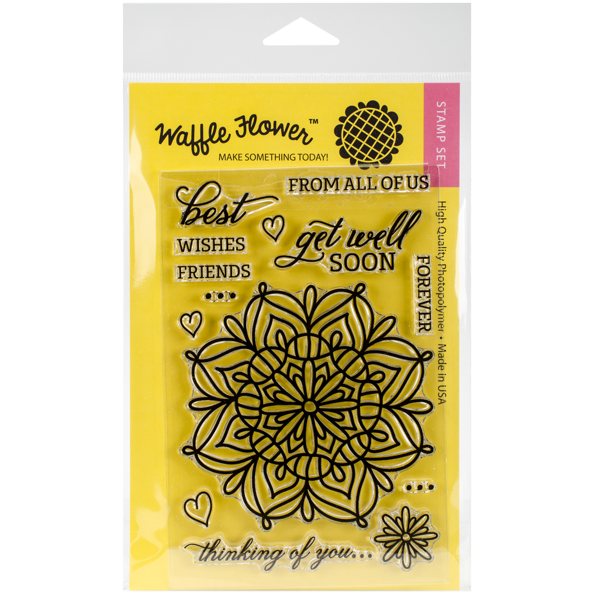 "Waffle Flower Crafts Clear Stamps, 4"" x 6"", Lacy Flower"