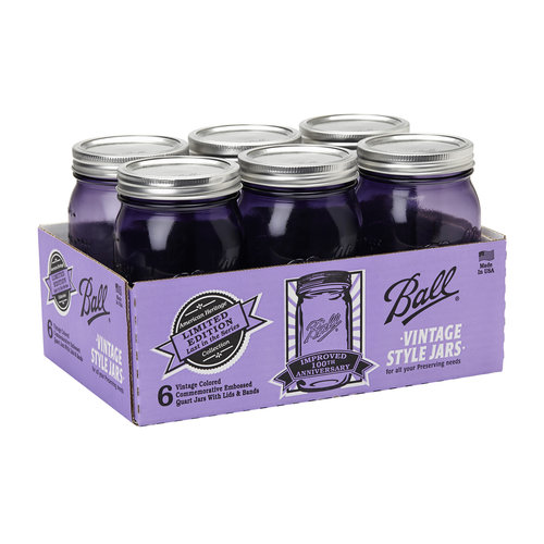 Ball Heritage Collection Purple Quart Jars, Wide Mouth, 6-Pack