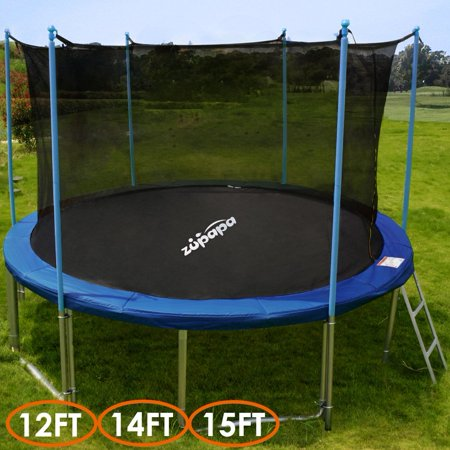 TÜV Approved Zupapa 12' Trampoline with Enclosure, Ladder & Safety Pad - Blue Round
