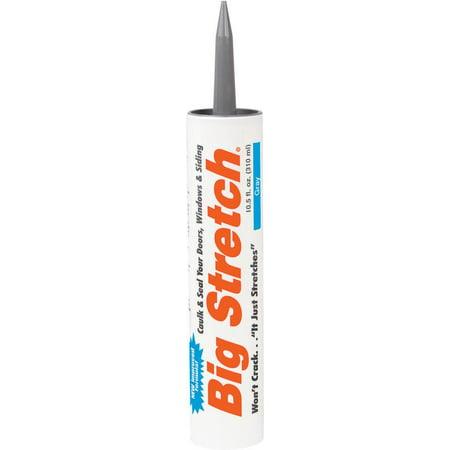 Big Stretch 10010 Elastomeric High Performance Non-Toxic Acrylic Caulk, 10.5 oz, Cartridge, Gray