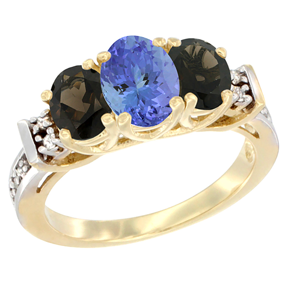 10K Yellow Gold Natural Tanzanite & Smoky Topaz Ring 3-Stone Oval Diamond Accent by Tanzanite Rings
