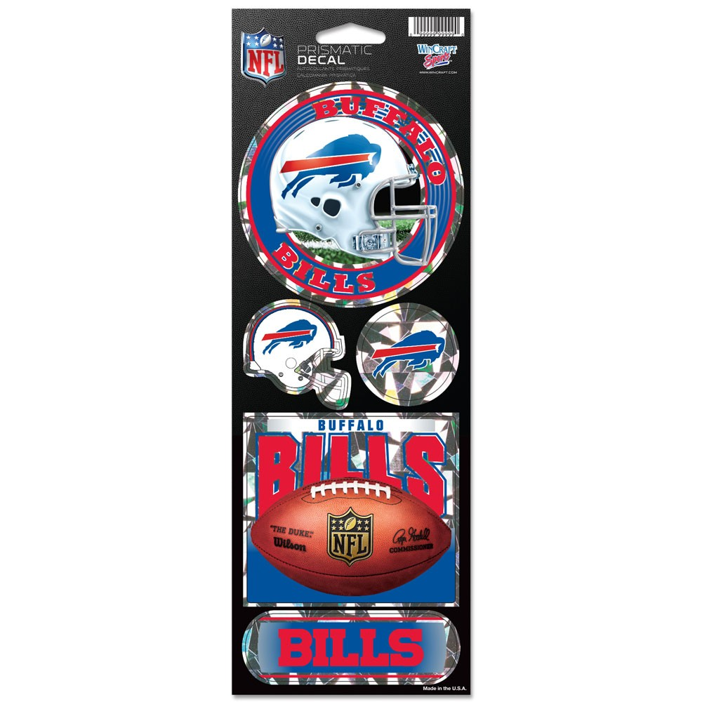 Buffalo Bills Official NFL 4 inch x 10 inch  Prismatic Car Decal Set by Wincraft