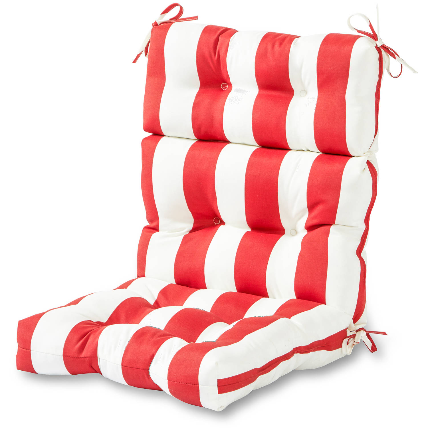 Outdoor High Back Chair Cushion, Cabana Stripe Red