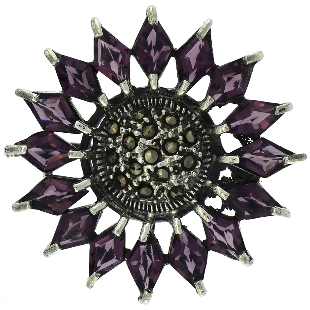 Sterling Silver Marcasite Flower Brooch Pin w  Diamond Shape Amethyst Stones, 1 1 2 inch (38 mm) by WorldJewels