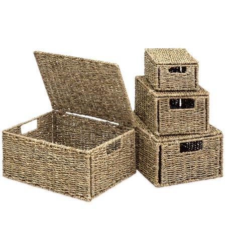 Best Choice Products Woven Seagrass Multi-Purpose Storage Box Baskets for Home Decor, Organization with Lids, Set of 4, Natural (Basket Case Box Set)