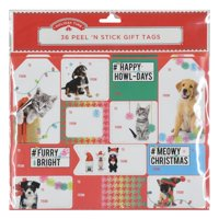 Holiday Time 36 Peel 'N Stick Gift Tags, Pets