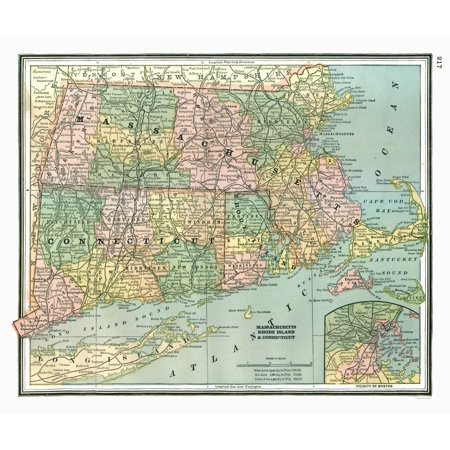 - Old State Map - Massachusetts, Connecticut - Johnson 1888 - 27.28 x 23