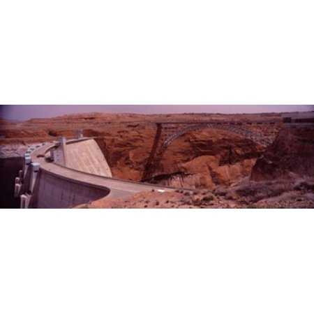 High angle view of a dam Glen Canyon Dam Lake Powell Colorado River Page Arizona USA Canvas Art - Panoramic Images (18 x