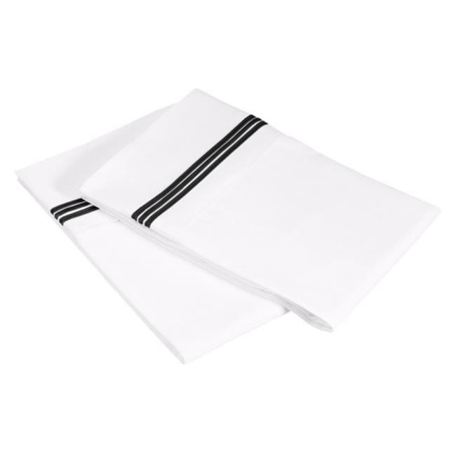 Luxor Treasures-Executive 3000 MF3000SDPC 5LWHBK Executive 3000 Series Standard Pillow Cases, 5-Lines Embroidery - White & Black - image 1 de 1