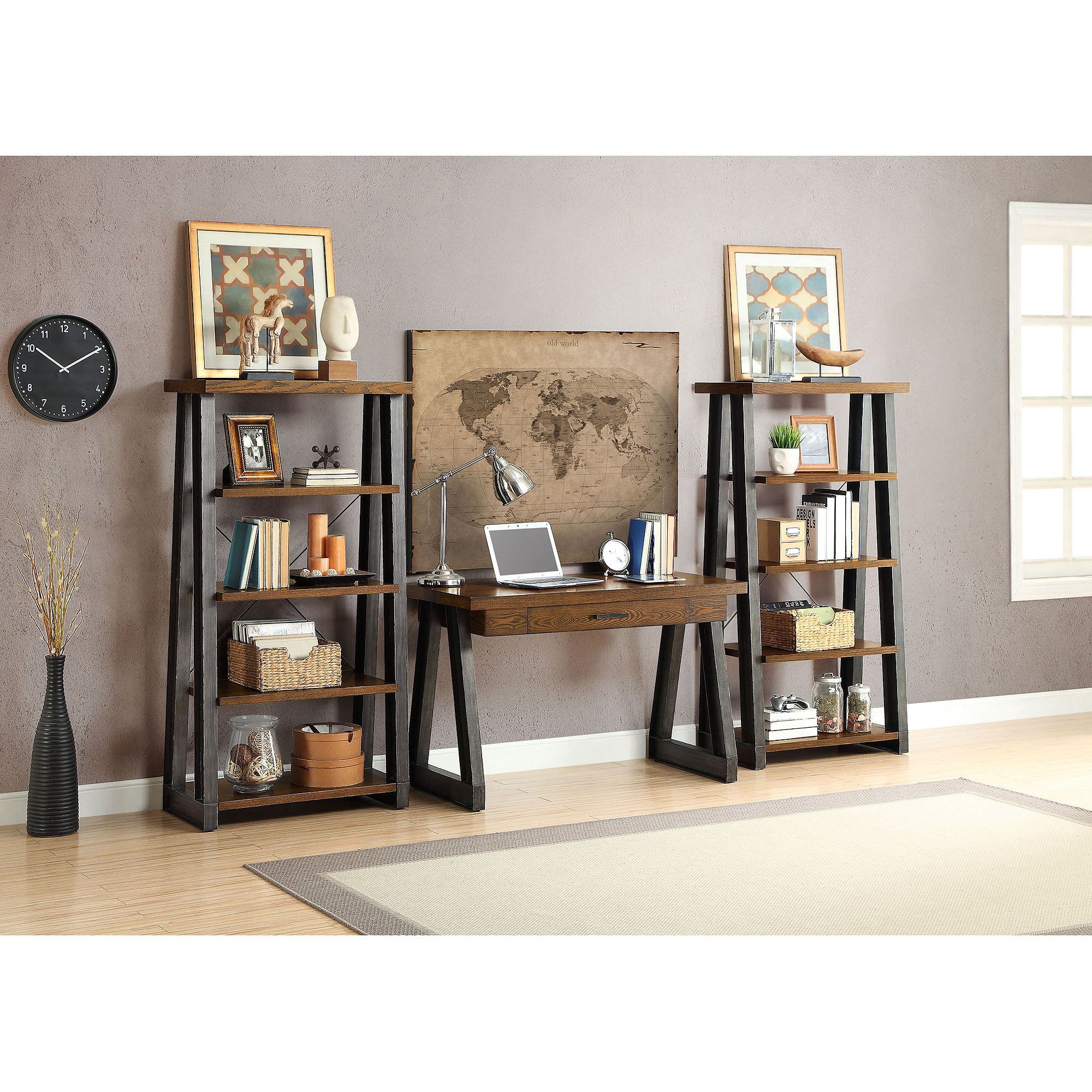 Better Homes and Gardens Mercer 5 Shelf Tower Vintage Oak