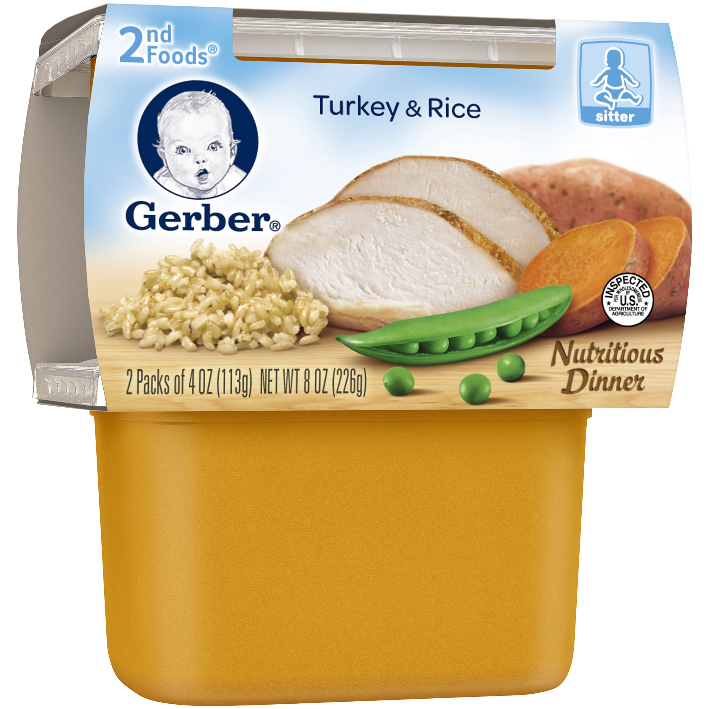Gerber 2nd Foods Turkey & Rice Nutritious Dinner, 4 oz, 2 count