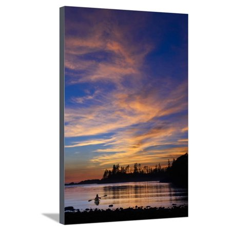 Canada, British Columbia Vancouver Island, Ucluelet, West Coast, Kayak at Sunset Stretched Canvas Print Wall Art By Christian Heeb ()