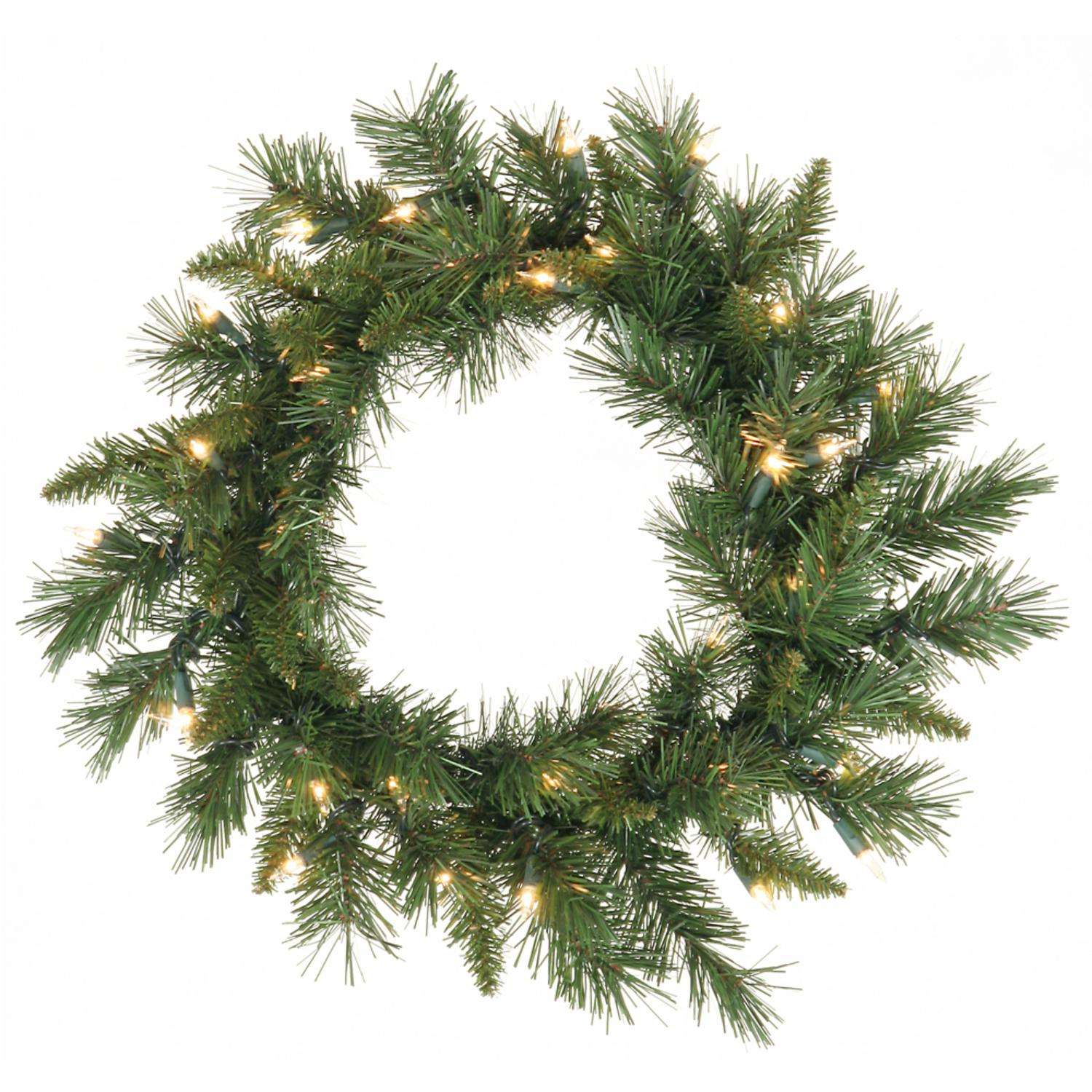 "30"" Pre-Lit Imperial Pine Wreath - Warm White LED Lights"