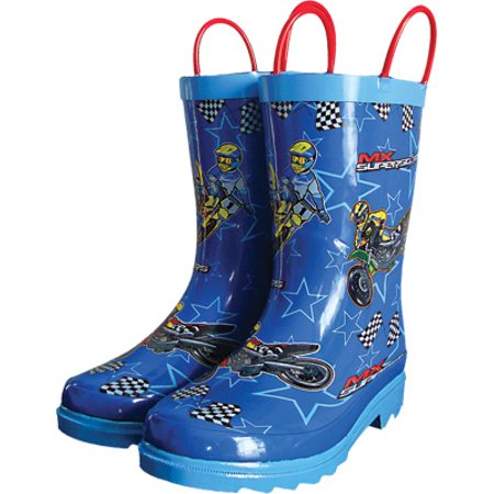 Smooth MX Superstars Youth Rain Boots Blue 8  (Youth Mx Boots)