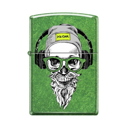 Zippo Custom Design Green Hipster Skull Head with Cap, Headphone and Glasses Windproof Collectible Lighter - Made in USA Limited Edition & Rare Zippo Limited Edition