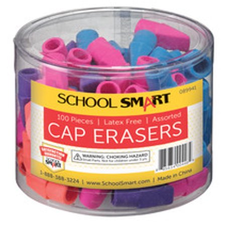 School Smart Pencil Cap Eraser, Chisel, Assorted Colors, Pack of 100](Brain Eraser)