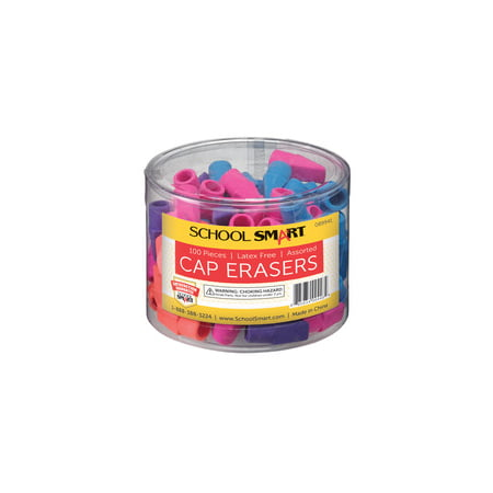 School Smart Pencil Cap Eraser, Chisel, Assorted Colors, Pack of 100 Arrowhead Pencil Cap Erasers