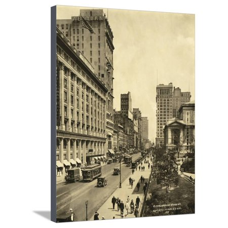 42nd Street East from 6th Avenue Stretched Canvas Print Wall (42nd Street 6th Avenue)