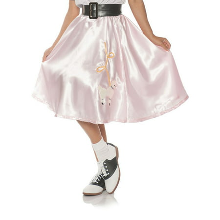 Pink Satin Womens Adult Costume 50S Sock Hop Poodle Skirt