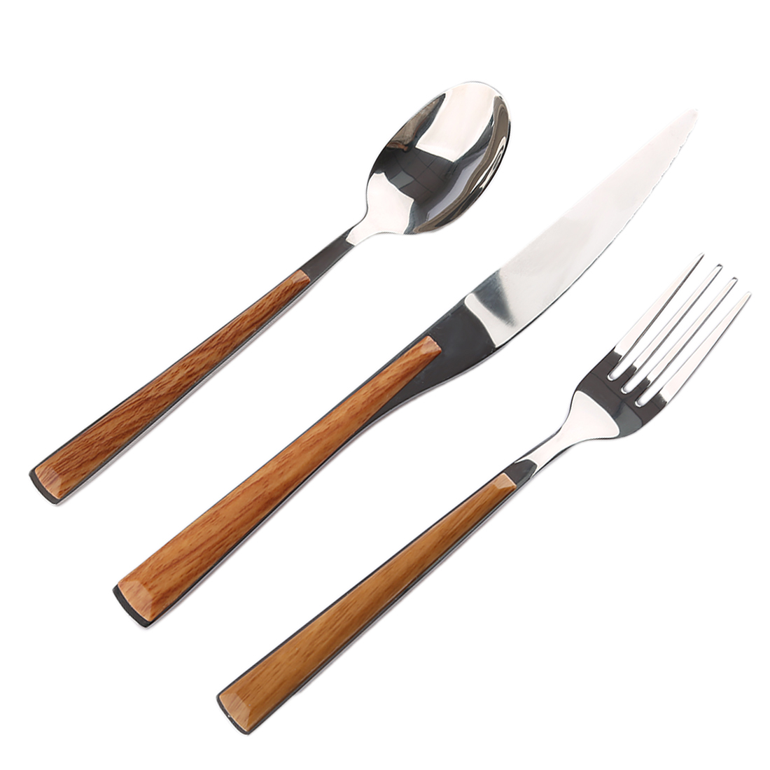 Imitation Wood Handle Stainless Steel Portable Tableware Dinnerware Travel Cutlery Set with Fork Spoon Knife - Silver