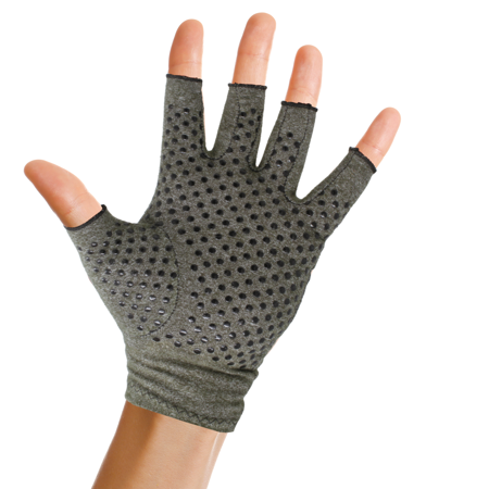 Pivit Anti-Slip Arthritis Gloves with Grips | Textured Fingerless Compression | Open Finger Hot Hand Typing Glove for Rheumatoid and Osteoarthritis | Arthritic Joint Pain & Cold Hands Relief (Small)