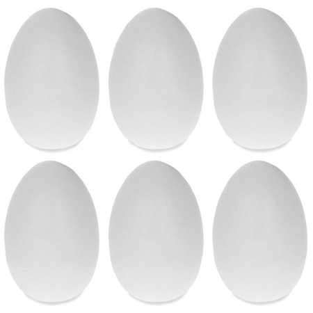 Set of 6 White Blank Styrofoam Eggs 2.5 Inches - Foam Eggs