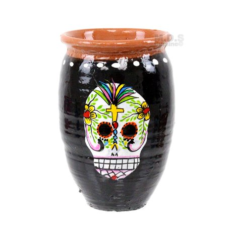 Cantaritos de Barro Calavera Decorative Artisan Hand-Painted Traditional Lead Free Mexican Clay Skeleton Skull Tonola Jalisco Mexico (Cantarito Calavera (Black w/Color)) - Skeleton Craft