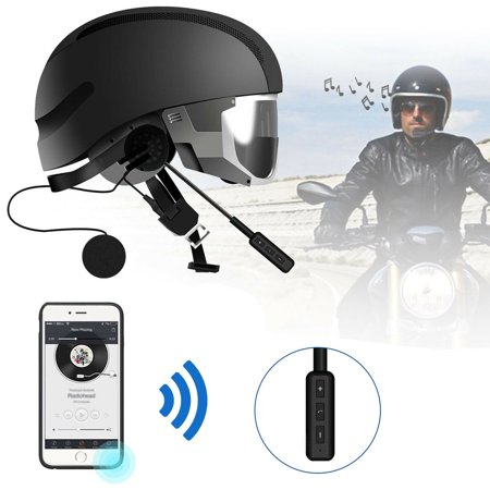 EEEKit Wireless Motorcycle Helmet Headset Work with Bluetooth 4.0, Helmet Headphones, Hands-Free Microphone for Motorcycle Motorbike Skiing, Music Call Control