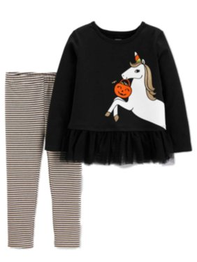 Carters Toddler Girls Black Unicorn Sparkle Glitter Tutu Ruffle 2 Pc Set