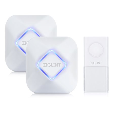 - ZIGLINT Wireless Doorbell, IP55 Waterproof Door Chime Kit Operating at over 500 Feet Range with 2 Receivers, 58 Chimes, 4 Adjustable Volume Levels and LED Flash, No Batteries Required for receivers