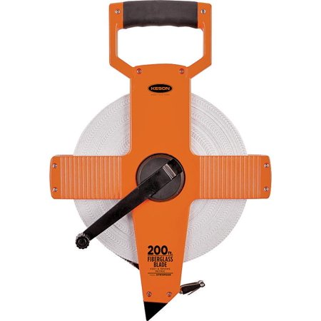 Keson OTR Open Reel Measuring Tape, 200 ft L X 3/8 in W, Fiberglass