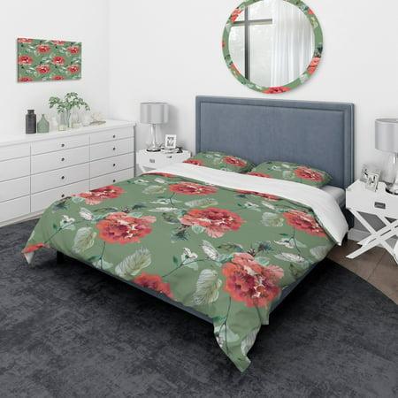 DESIGN ART Designart 'Red Flowers in Green Background' Traditional Bedding Set - Duvet Cover & Shams (Green Iridium Sonnenbrille)