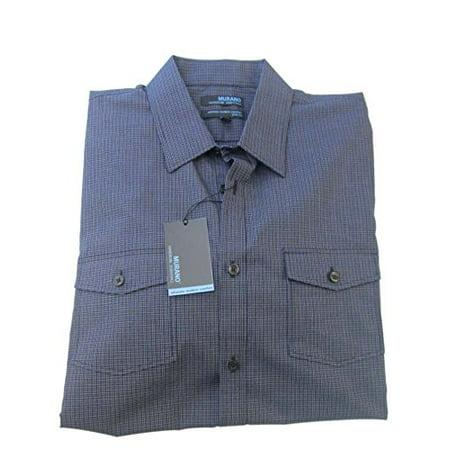 Murano Wardrobe Essentials Ult Modern Comf Slim Fit Black Print Button Down Shirt L