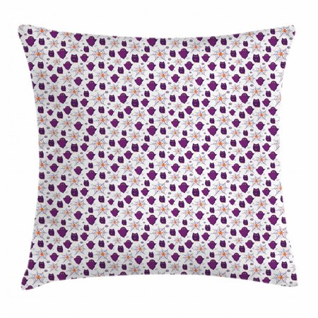 Ghost Throw Pillow Cushion Cover, Halloween Party Themed Pattern with Owl Figures and Spider Webs on White, Decorative Square Accent Pillow Case, 18 X 18 Inches, Purple Orange White, by Ambesonne (Throw A Halloween Party On The Cheap)