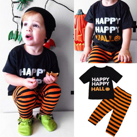2PCS Toddler Baby Kids Boy Halloween Clothes T-shirt Tops+Long Pants Outfit Set](Halloween Rave Outfits)