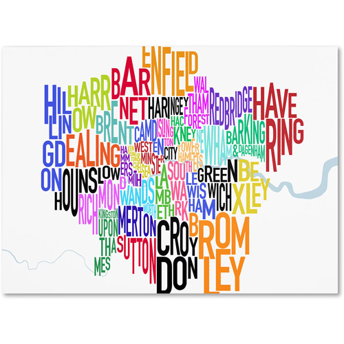 Trademark Art 'London Text Map' Canvas Art by Michael Tompsett