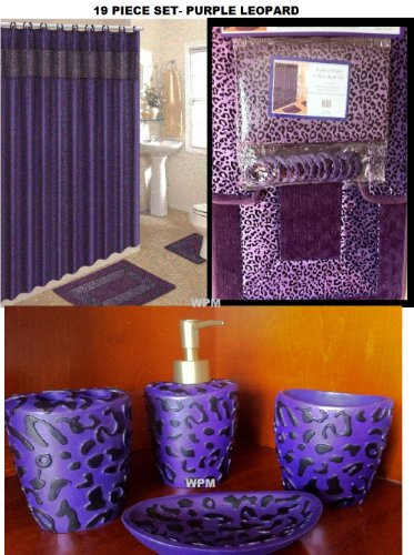 19 Piece Bath Accessory Set Purple Leopard Bathroom Rugs & Shower Curtain & Accessories by