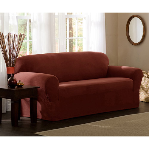 Maytex Stretch Reeves 1 Piece Sofa Furniture Cover Slipcover, Red