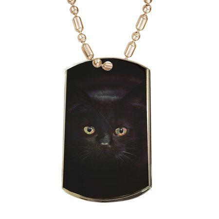 KuzmarK Gold Pendant Dog Tag Necklace - Black Cat Painting Eyes Gold Dog Tag Necklace](Customizable Dog Tags)