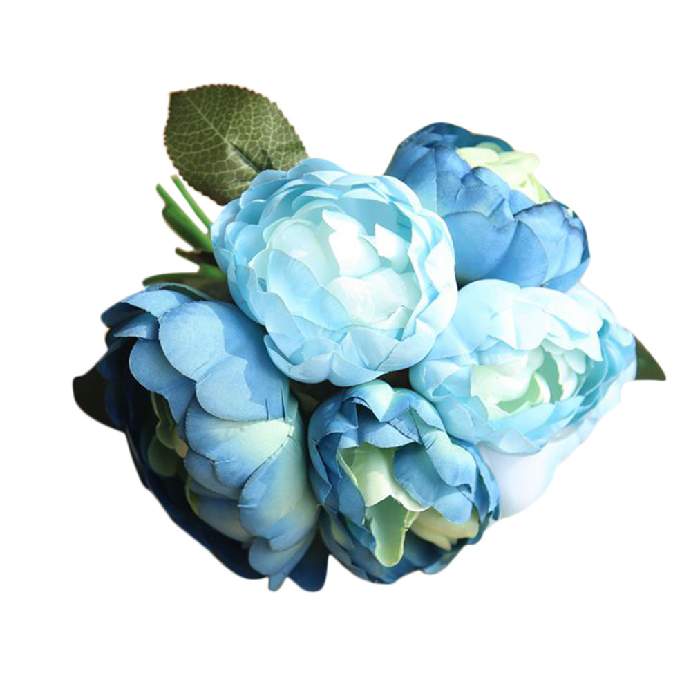 Mosunx 1 Bouquet 6 Heads Artificial Peony Silk Flower Leaf Home Wedding Party Decor