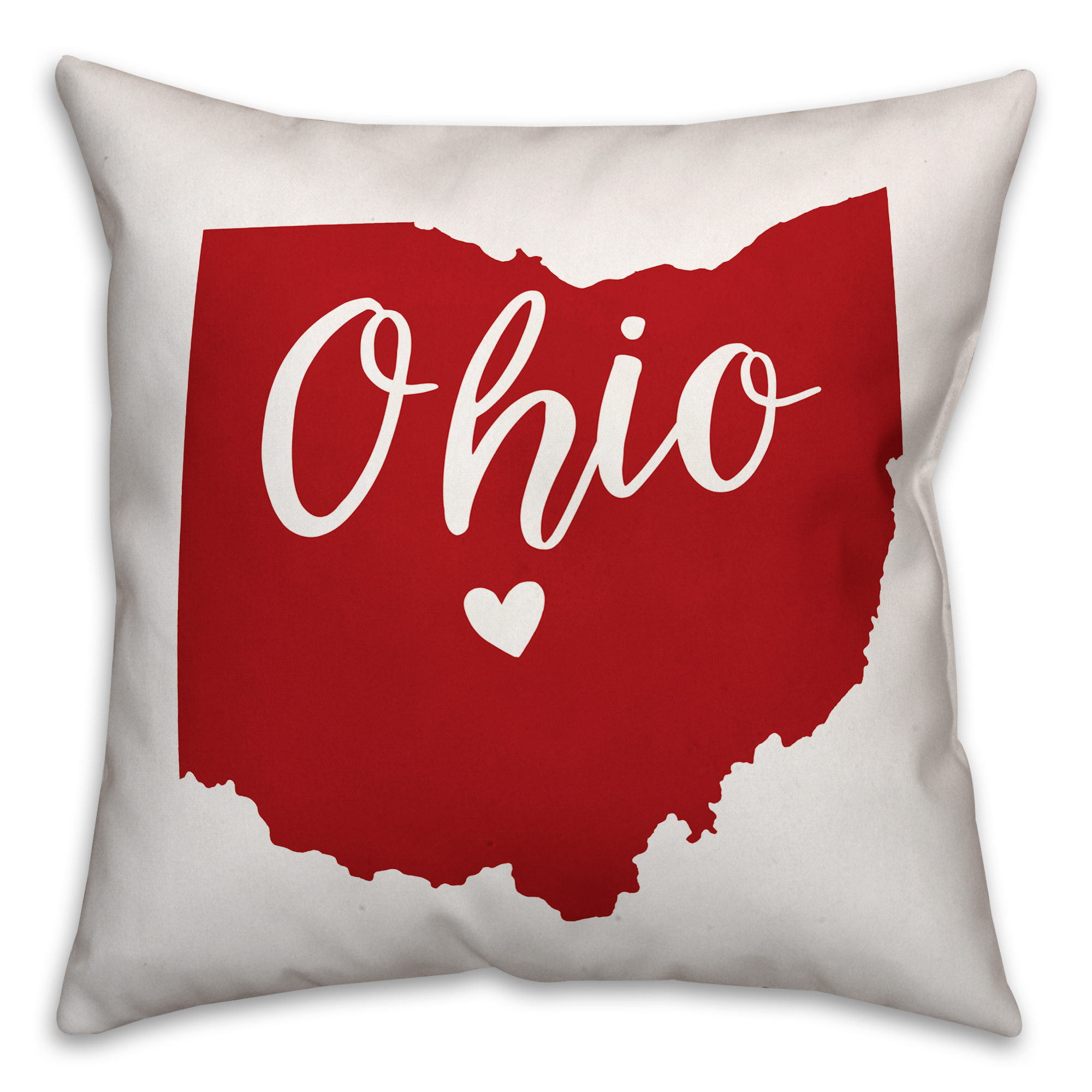 Red and White Ohio Pride 16x16 Spun Poly Pillow