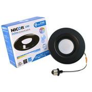 NICOR Lighting 5/6-Inch Dimmable 1200-Lumen 3000K LED Downlight Retrofit Kit for Recessed Housings, Black Trim (DLR56-3012-120-3K-BK)