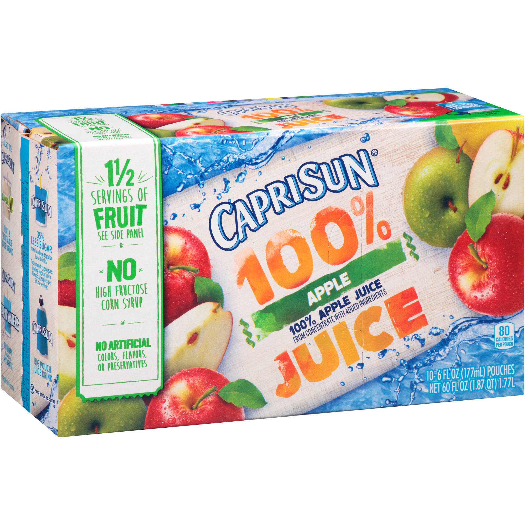Capri Sun 100% Apple Juice, 6 fl oz, 10 count