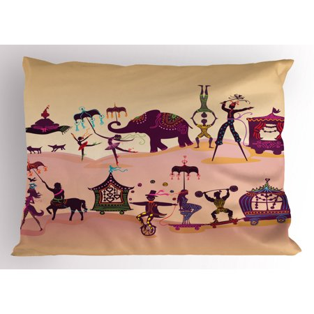 Circus Pillow Sham Graphic Oriental Festival Crowd with Fantasy Figures as Flying Carpet and Mermaid, Decorative Standard King Size Printed Pillowcase, 36 X 20 Inches, Multicolor, by Ambesonne Carpeted Case Picture King Tripod