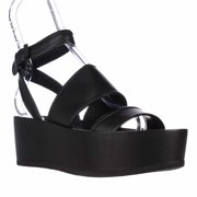 Womens VINCE Vienna Platform Ankle Strap Sandals - Black Leather