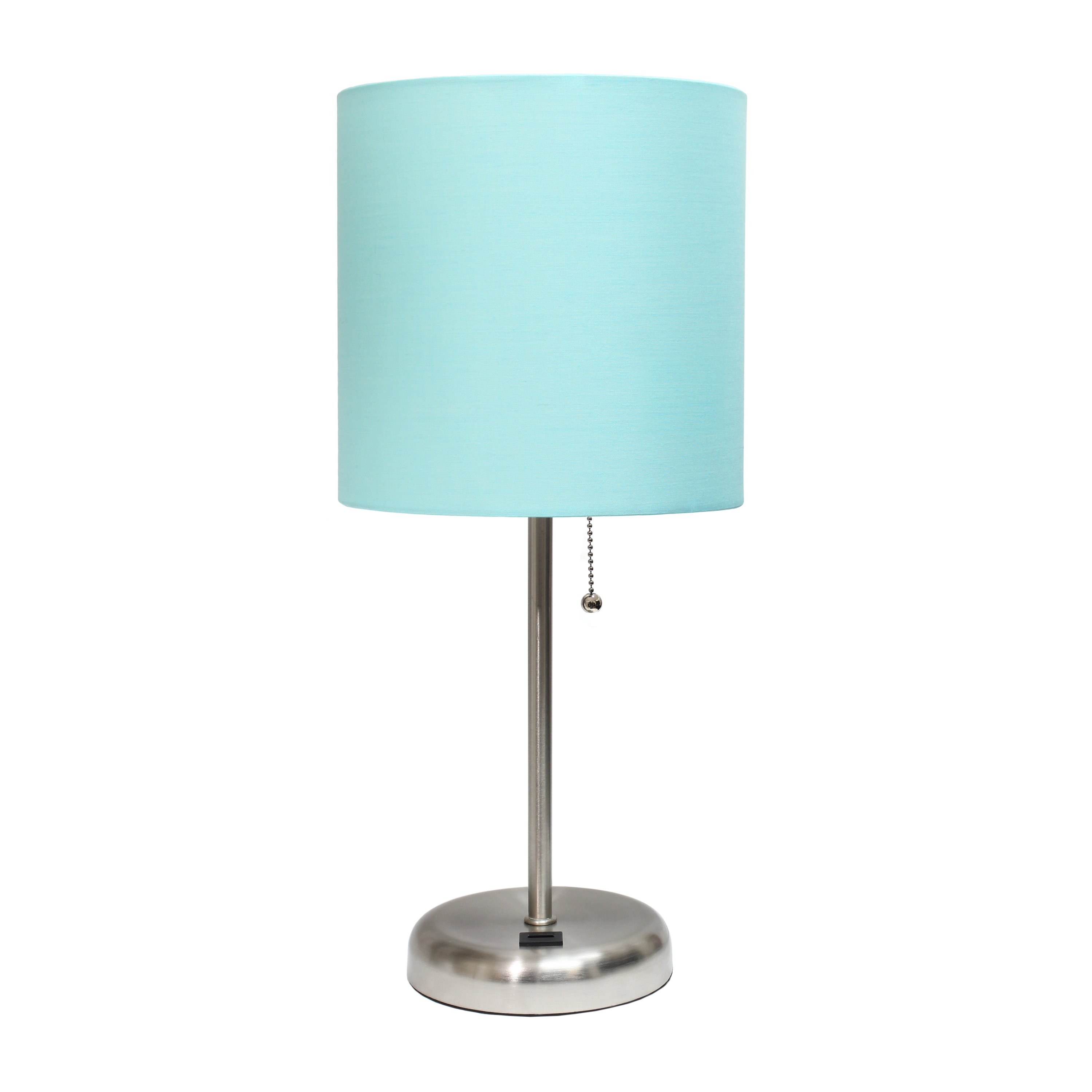 LimeLights Stick Lamp with USB port and Fabric Shade, Aqua