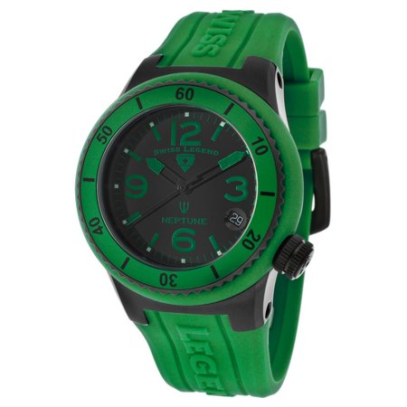 Swiss Legend Neptune 11840P-BB-01-GRN 40mm Stainless Steel Case Green Rubber synthetic sapphire Women's Watch